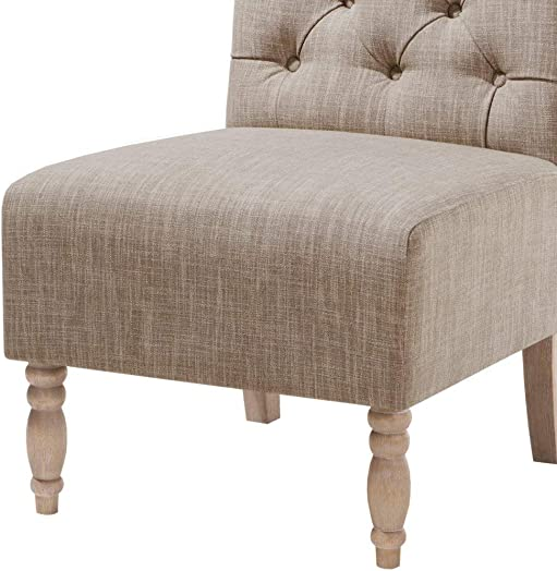 Madison Park Lola Tufted Armless Chair Beige See Below