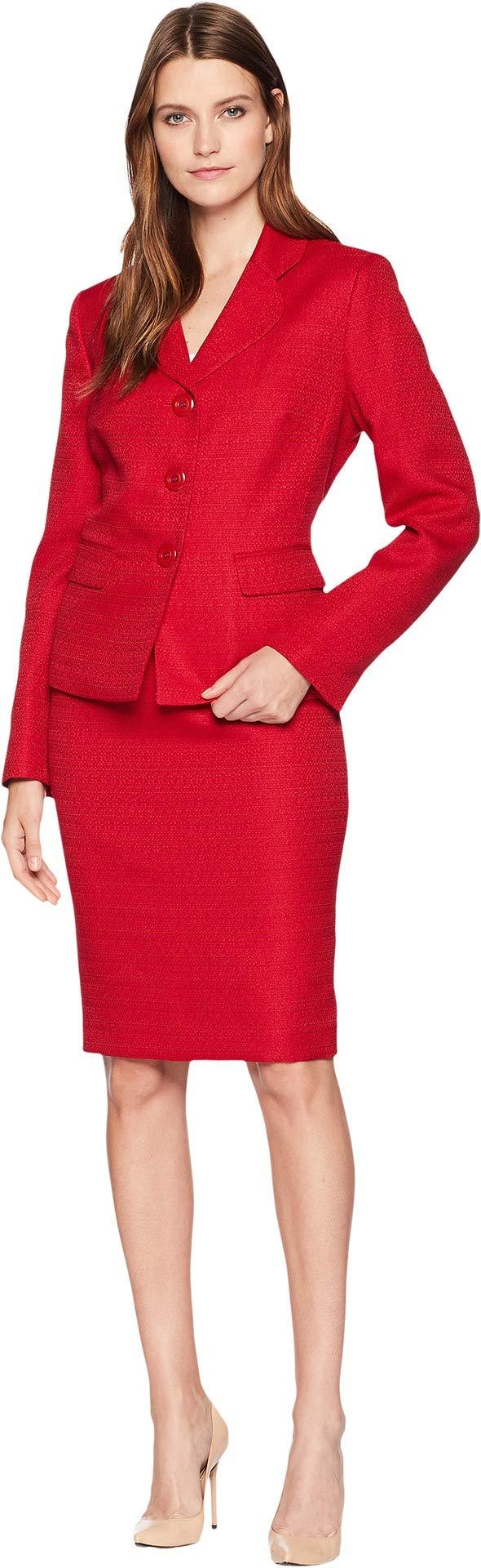 Le Suit Women's Tweed 3 Button Jacket Skirt Suit, Scarlet, 16