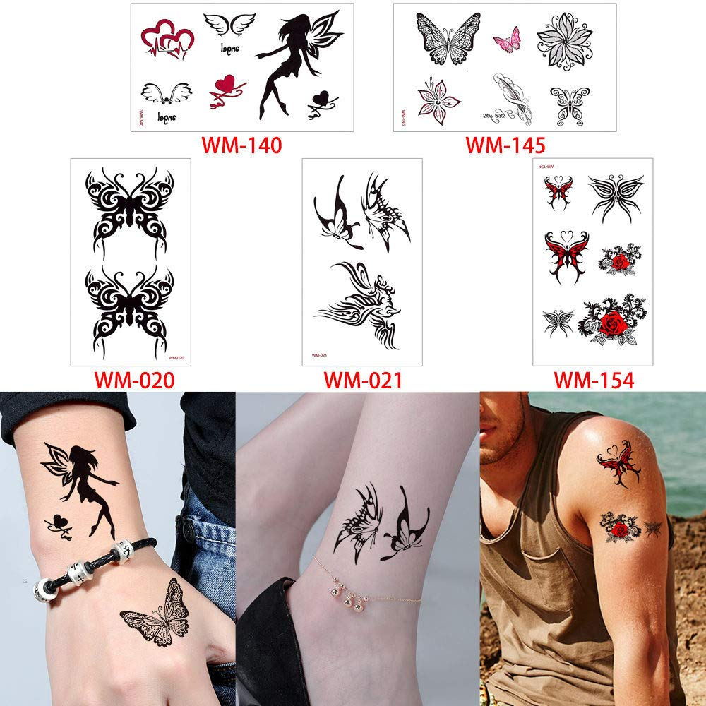 adgkitb Etiqueta engomada del Tatuaje Negro Vida del árbol Tatuaje ...