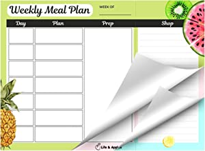 Life & Apples Meal Planner Pad for Weekly Meal Plan and Food Prep, with Tear Off Grocery List, 11x8 inch Planning Notepad