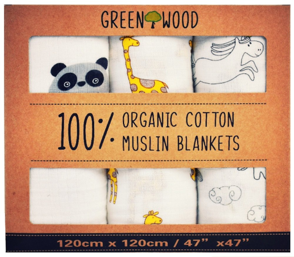 Muslin Swaddle Blankets - 100% Organic Cotton - 3 Pack 47'' x 47'' Ultrasoft and Hypoallergenic - Best Baby Shower Gift (Zoo) by Green Wood (Image #1)