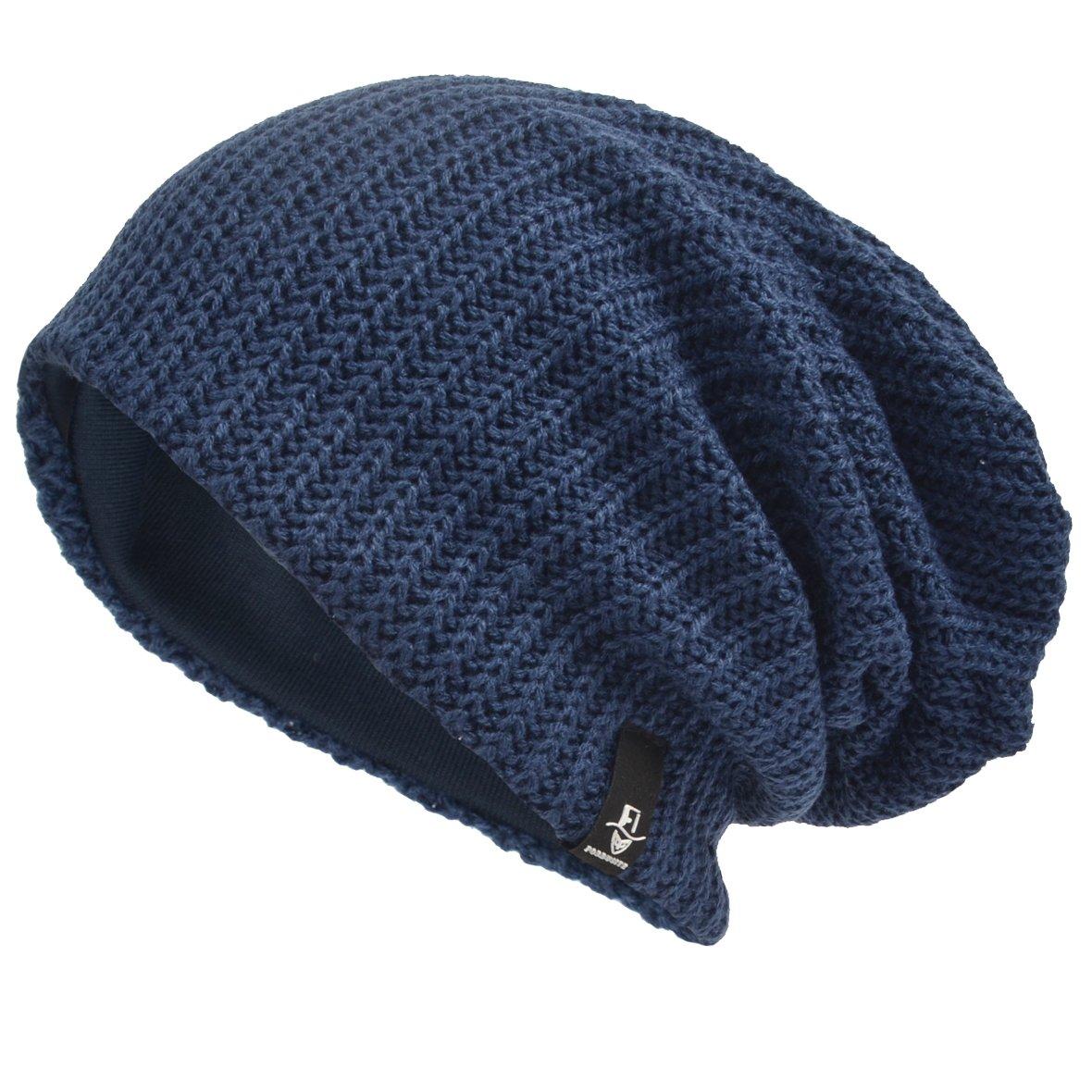 VECRY Men's Cool Cotton Beanie Slouch Skull Cap Long Baggy Hip-hop Winter Summer Hat B305 S-B305-Black-R