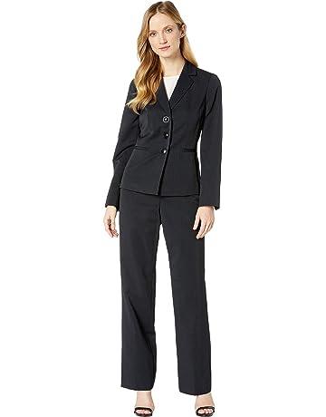 f3cde4bc10be8 Le Suit Women s Three-Button Peak Lapel Stripe Pants Suit