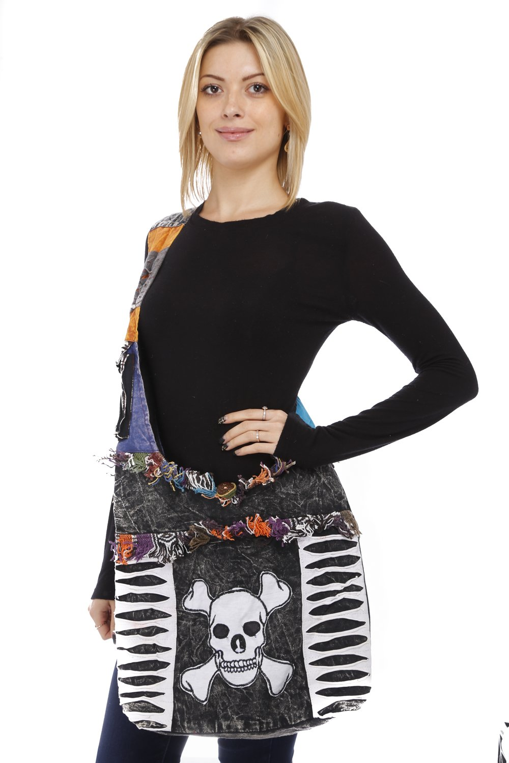 Gilbins Hippie Boho Slouch Bag Sling nepalese cross body bag 100% cotton Skull
