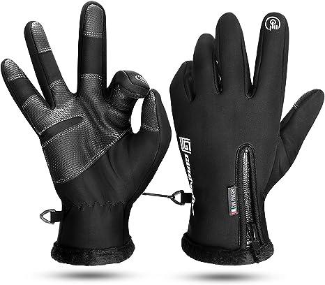 DOVAVA Guanti Invernali Guanti Touch Screen Antiscivolo Termici Uomo Donna da Ciclismo Moto Mtb Corsa Guida Sci Running Alpinismo con Striscia Riflettente