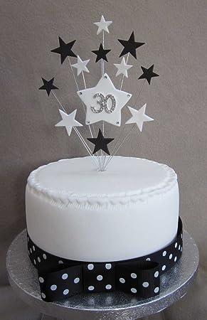 dcoration pour gteau anniversaire 30 ans noir et blanc toiles idal pour un gteau de 15 - Gateau Anniversaire 30 Ans