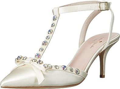 036c49e83c46 Amazon.com  Kate Spade New York Women s Julianna Ivory Satin Aurora  Borealis Stones Flat  Shoes