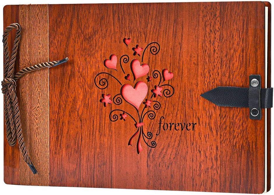 ZEEYUAN Álbum de Fotos,Libro de Recuerdos para Recuerdos de Cumpleaños, Aniversarios, San Valentín y Celebraciones. Libro de Fotos 80 páginas con Cubierta de Madera (Siempre)