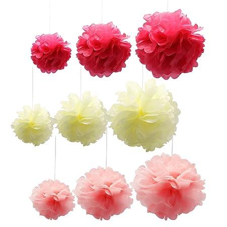 Homgaty 40Pcs Tissue Paper Flowers Wedding Pom Poms Decorations 40 Interesting Paper Flower Ball Decorations