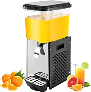 VEVOR Commercial Juice Dispenser, 4.8 Gallon 18 L Cold Beverage Dispenser, Stainless Steel Cold Drink Dispenser with Thermostat Controller, 200 W Electric Juice Dispenser for Restaurant and Party