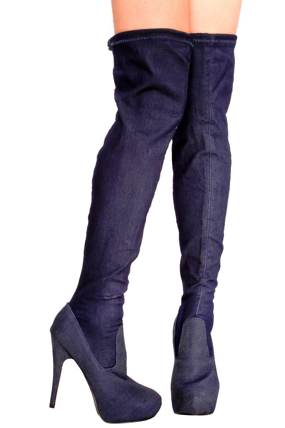 ed3e8b2e08f Lolli Couture Forever Link Faux Leather Lace up Long Combat Style with Heel  Knee High Long