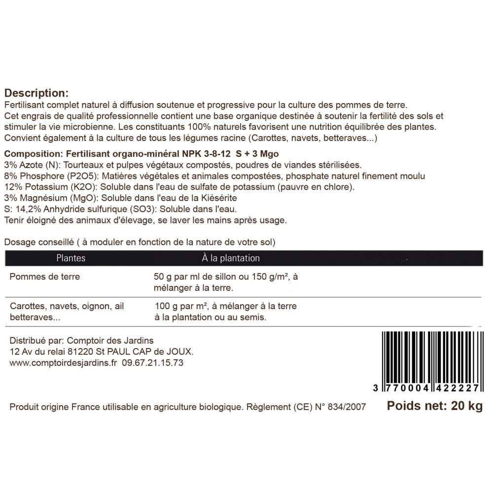 Agro Sens - Abono orgánico de patatas NPK 3 - 8-12. Bolsa de ...