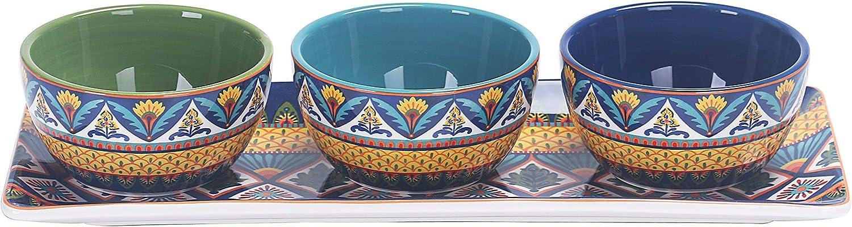Bico Havana Ceramic Dipping Bowl Set (9oz bowls with 14 inch platter), for Sauce, Nachos, Snacks, Microwave & Dishwasher Safe