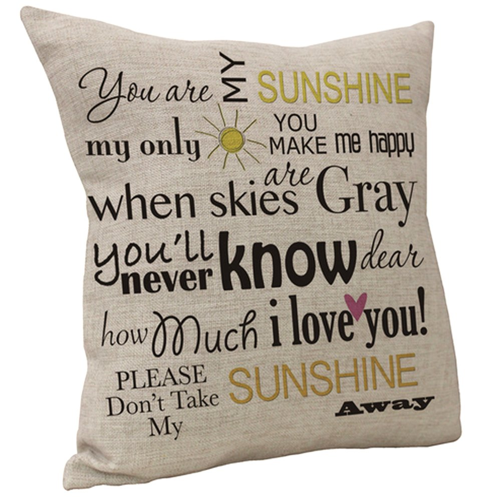 Vanki Letters Printed serial Cotton Linen Square Decorative Throw Pillow Case Cushion Cover 18 x 18 inches , you are My Sunshine Sayings pattern