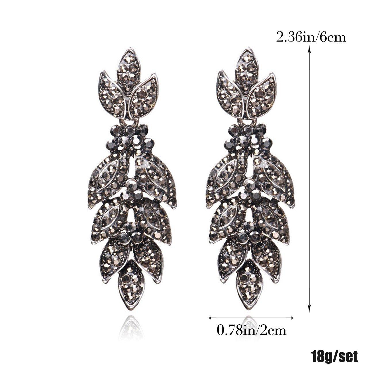 Unicra Vintage Black Crystal Stud Earrings Wedding Bridal Multiple Rhinestone Earrings Chandelier Long Dangle Earrings for Women and Girls by Unicra (Image #3)