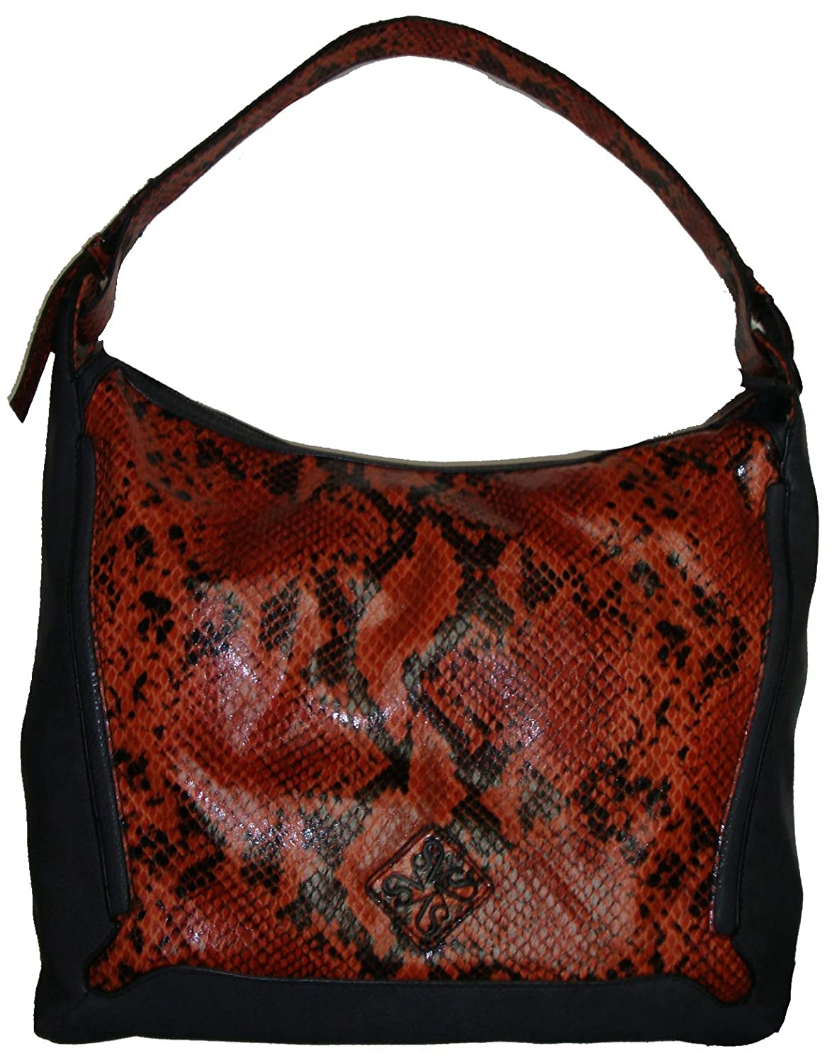 Simply Vera Women's Large Hobo Handbag, Snakeskin Print/Orange