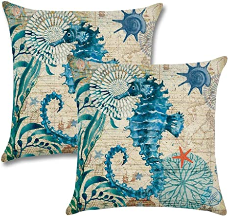 Amazon Com 7colorroom 2pack Seahorse Throw Pillow Covers Ocean Theme Home Decorative Throw Pillow Cases 18 18 Cushion Covers For Patio Sofa Couch Seahorse Home Kitchen