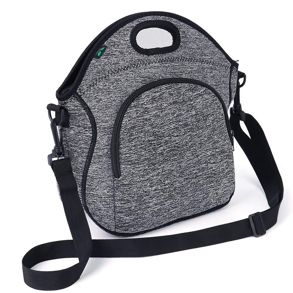 Neoprene Lunch Bag F40C4TMP Washable Reusable Lunch Tote with Adjustable Shoulder Strap Front Zipper Pocket for Adults Men Kids (5L) JILB002J005GRCA-F4