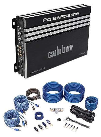 amazon com: power acoustik re4-2000d 2000 watt 4-channel car stereo  amplifier amp+wire kit: car electronics