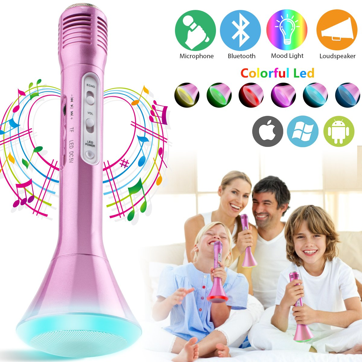 Wireless Kids Karaoke Microphone with Speaker, Portable Bluetooth Microphone Child Karaoke Mic Machine for Kids Adult Singing Party Music Playing, Support iPhone Android Smartphone PC iPad (Pink)
