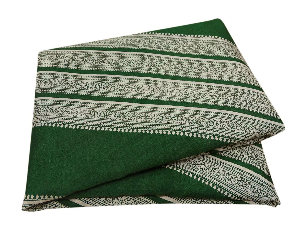 PEEGLI Indio Vendimia Saree Verde Seda Mezcla Mujer Pareo De Malasia Vestido Envolver Floral Impreso Bollywood Sari: Amazon.es: Amazon.es