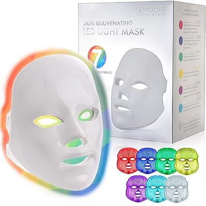 Yoove Mascarilla De Luz Led 7 Colores Incluyendo Terapia De Luz Roja Para Rejuvenecimiento Saludable De La Piel Máscara De Cuidado Facial Para Terapia De Luz En El Hogar Beauty