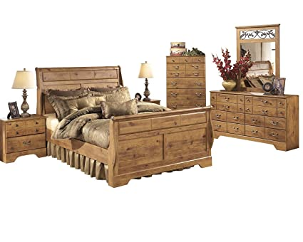 Attractive Ashley Bittersweet 6 PC Queen Sleigh Bedroom Set With Two Nightstand U0026  Chest In Light Brown