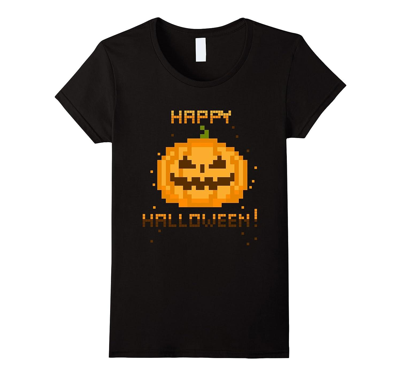 Video Gamer Pixel Jack-O-Lantern Halloween Costume T-Shirt