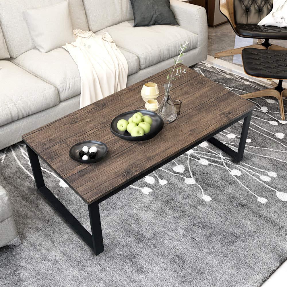 Rustic Metal Coffee Table.Aingoo Rustic Coffee Table With Metal Frame For Living Room Garden 43 Dark Brown Ct 01