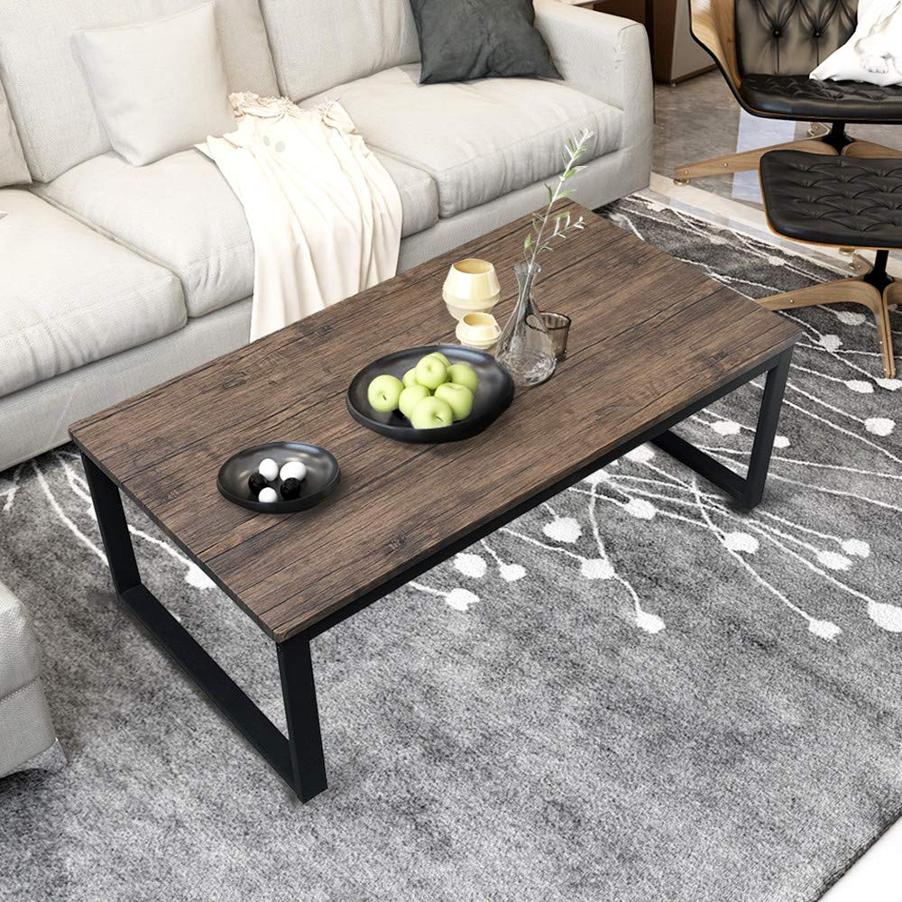 Aingoo Rustic Coffee Table with Metal Frame for Living Room Garden 43'', Dark Brown CT-01 by Aingoo