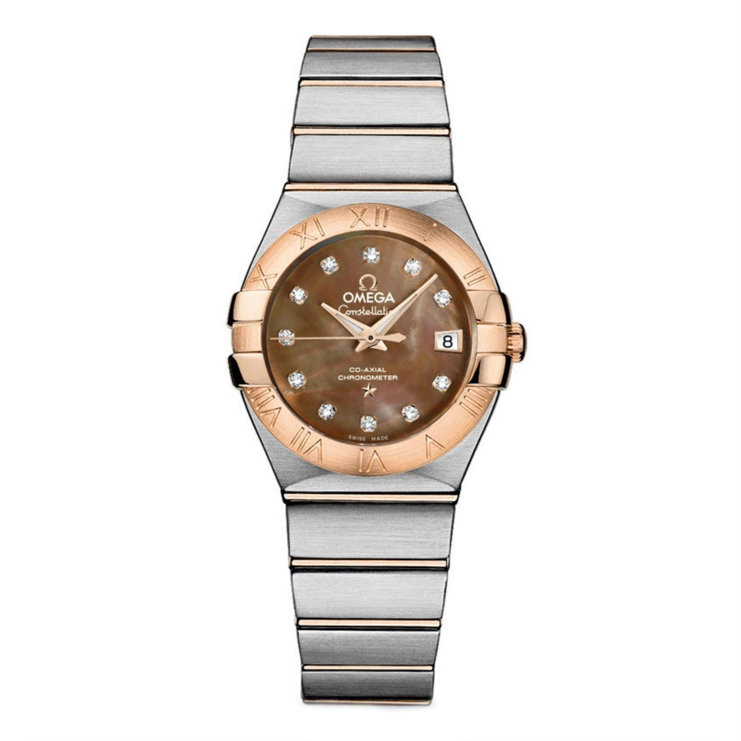 Omega Constellation de la mujer diamante 27 mm acero pulsera y caso automático analógico reloj 123.20.27.20.57.001: Amazon.es: Relojes