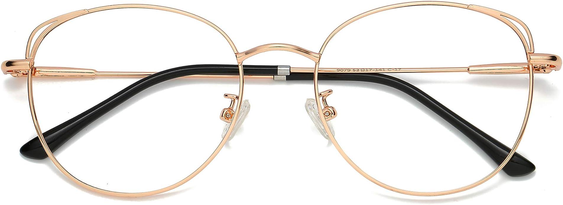 SOJOS Cat Eye Blue Light Blocking Glasses Hipster Metal Frame Women Eyeglasses She Young