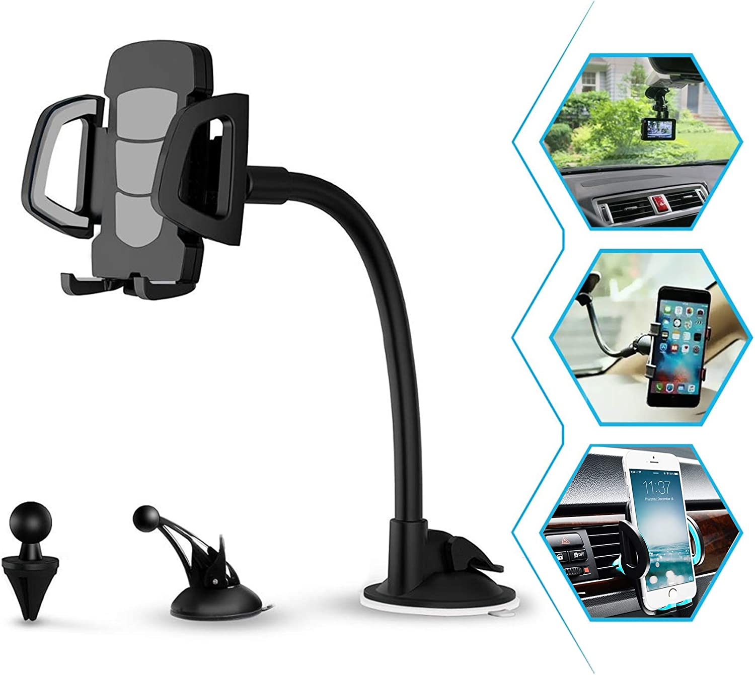 Car Phone Mount, 3 in 1 Universal Cell Phone Holder Car Air Vent Holder Dashboard Mount Windshield Mount for Samsung Galaxy S20 S10 S9 S8 LG Sony iPhone 11 Pro XS Max R X 8 Plus 7 Plus