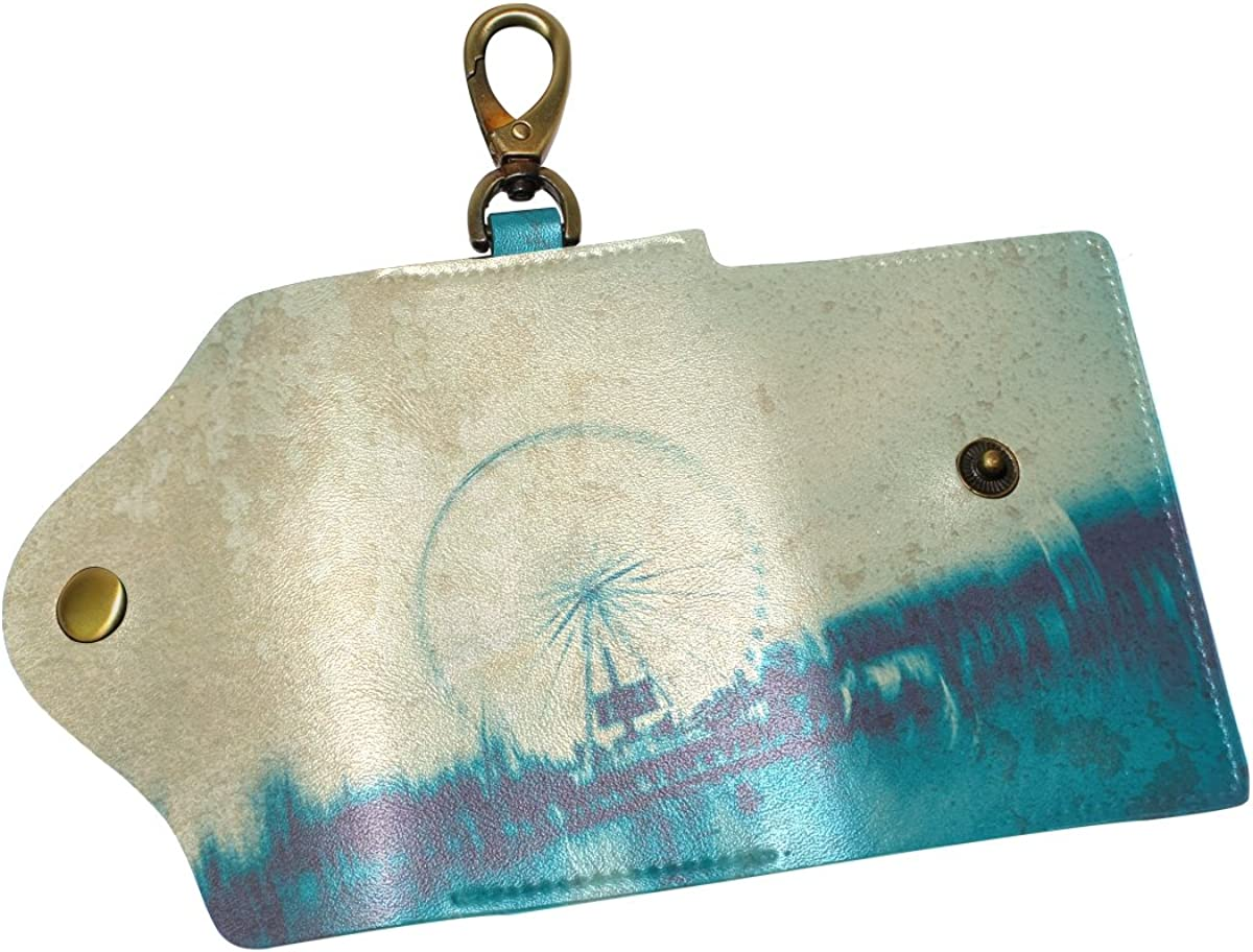DEYYA Paris Street Retro Painting Leather Key Case Wallets Unisex Keychain Key Holder with 6 Hooks Snap Closure