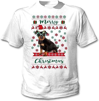 teesquare1st Miniature Pinscher Merry Christmas Camiseta ...