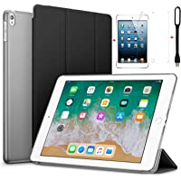 for Apple iPad Air 2/iPad 6 Ultra Slim Smart Case Folio with (Translucent Back) Stand Flip Cover case Free with USB Led Light and Glossy Screen Guard for for Apple iPad Air 2/iPad 6 Model A1566/A156 (Black)