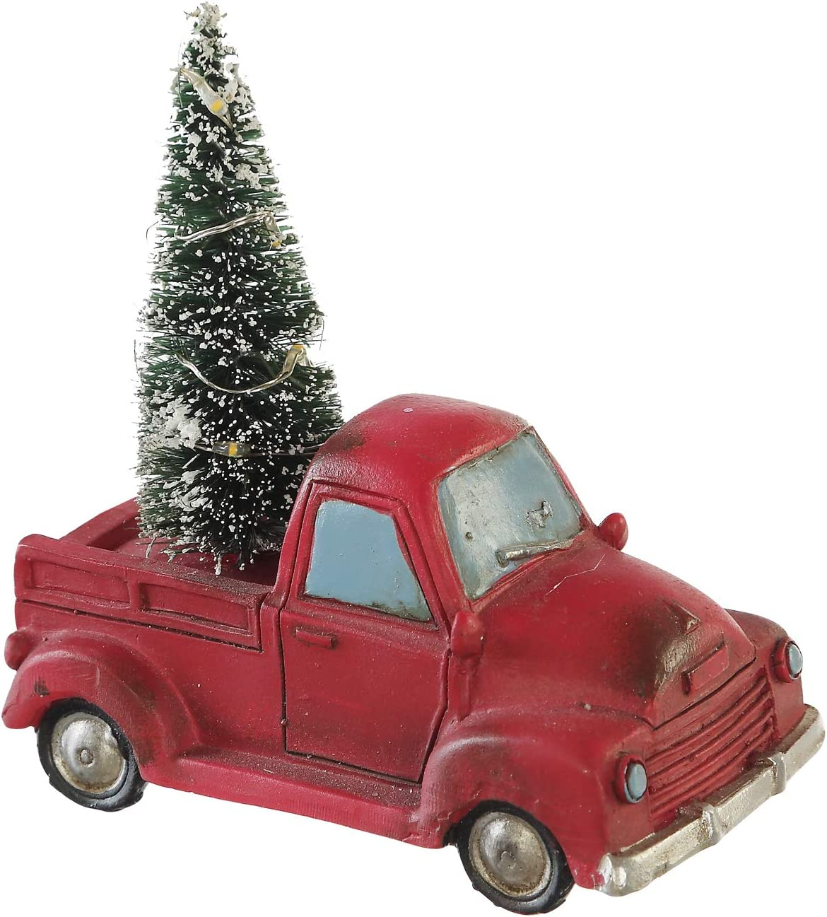 """Goose Creek Holiday Truck with LED Light Up Tree Table Decor Miniature Home Ornaments Figurine, Red, 4.25"""" W x 2.5"""" D x 5"""" H"""