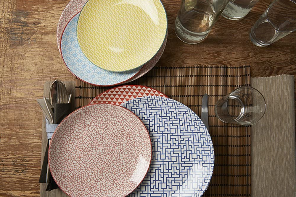Crackle with Red Border Fill 21335 Althea Collection Set of 4 Stoneware Plates