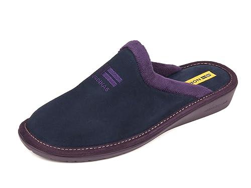 NORDIKAS Zapatillas de casa EN Ante Azul Marino: Amazon.es: Zapatos y complementos