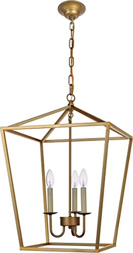 Foyer Lantern Pendant Light Fixture, Dst Gold Iron Cage Chandelier Industrial Led Ceiling Lighting, Size D17 H25 Chain 45