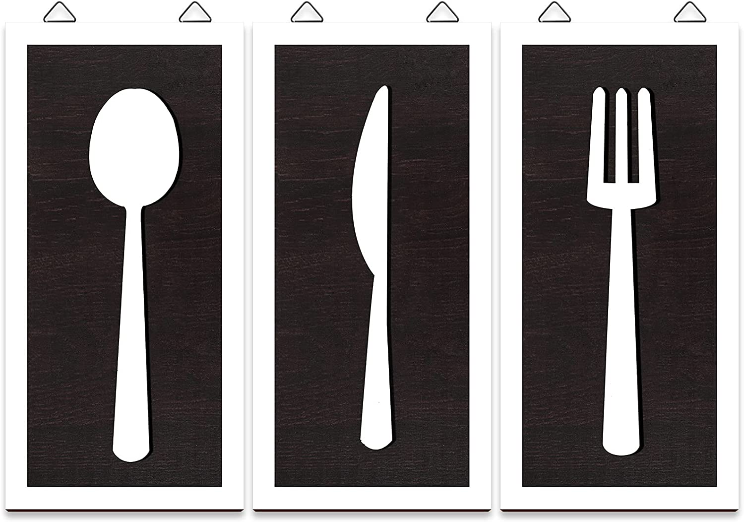 3 Pieces Rustic Fork Spoon Knife Wall Decor, Wooden Kitchen Wall Hanging Sign, Set of Farmhouse Wood Fork Spoon Knife Sign for Home Kitchen Dining Living Room Restaurant Cafe