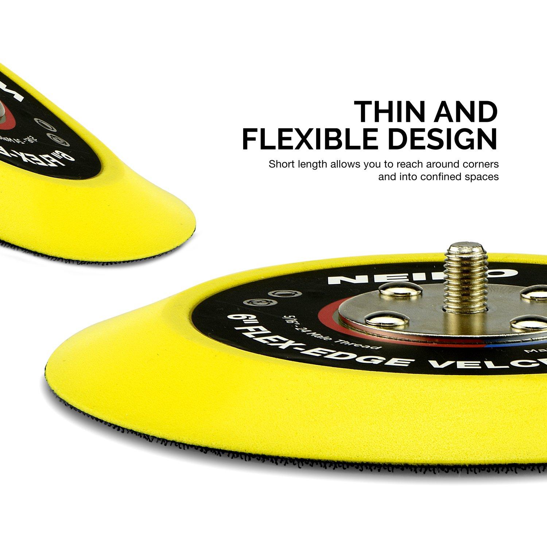 Neiko 30267A Flexible Edge Hook and Loop PU Backing Pad for DA Sander Polisher Buffer 6-Inch 10,000 RPM 5//16-24 Thread