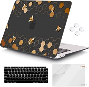 iCasso MacBook Air 13 inch Case 2020 2019 2018 Release A1932/A2179, Hard Shell Case Protective Cover and Keyboard Cover Only Compatible Newest MacBook Air 13'' with Touch ID Retina Display - Honeycomb