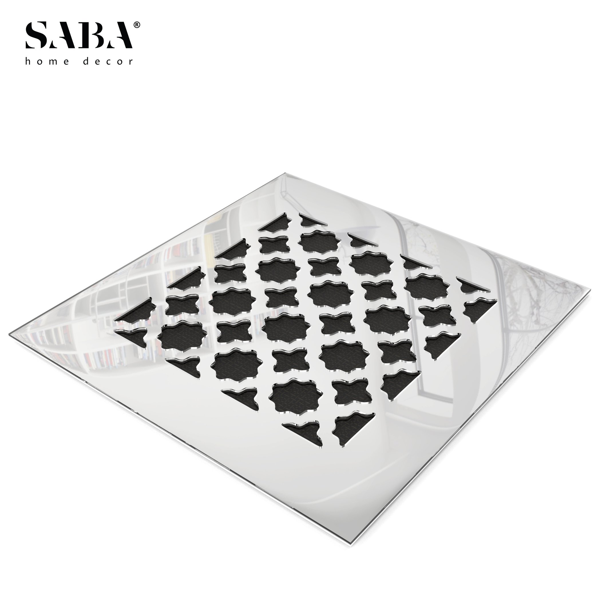 SABA FiberGlass Decorative Grille Vent Return Register Easy Air Flow Venetian Style Cover 20 inch x 20 inch (23'' x 23'' Overall). For Walls and Ceilings (not for Floor use), Mirror Finish