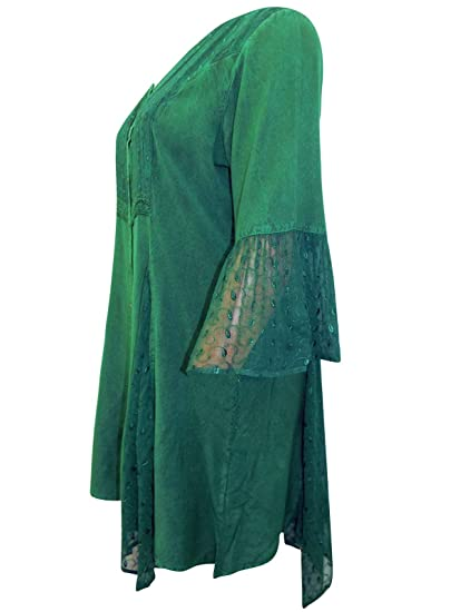a7fccfecd0a86 Grey Blue Chambray Denim Boho Lace Stonewash Folk Tunic Top Blouse Plus  Size 18 to 32 (22 24)  Amazon.co.uk  Clothing