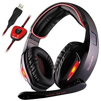 Sades SA902 Gaming Headset USB 7.1 estéreo con cable Auriculares para juegos con micrófono Revolución Control de volumen Cancelación de ruido Luz LED (negro ...