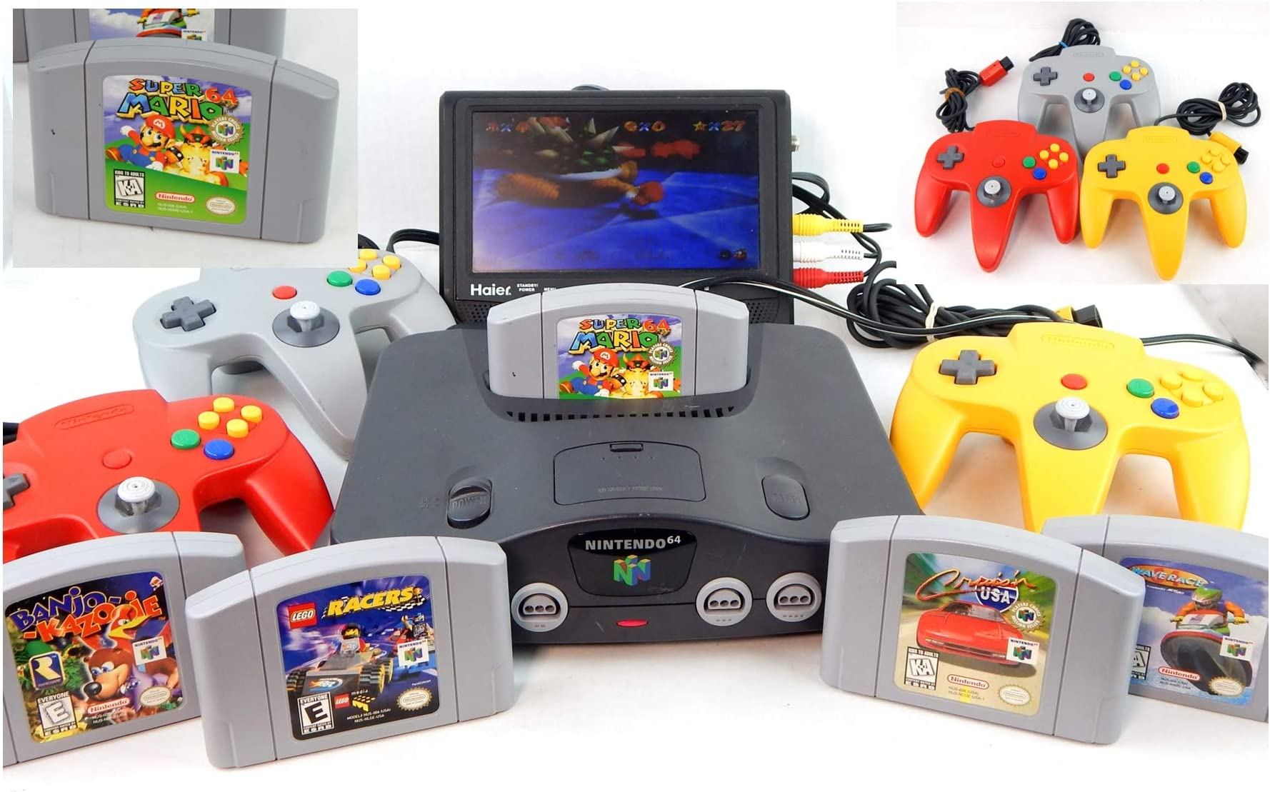 Amazon com: N64 System with Controller, Hookups, and Super Mario 64