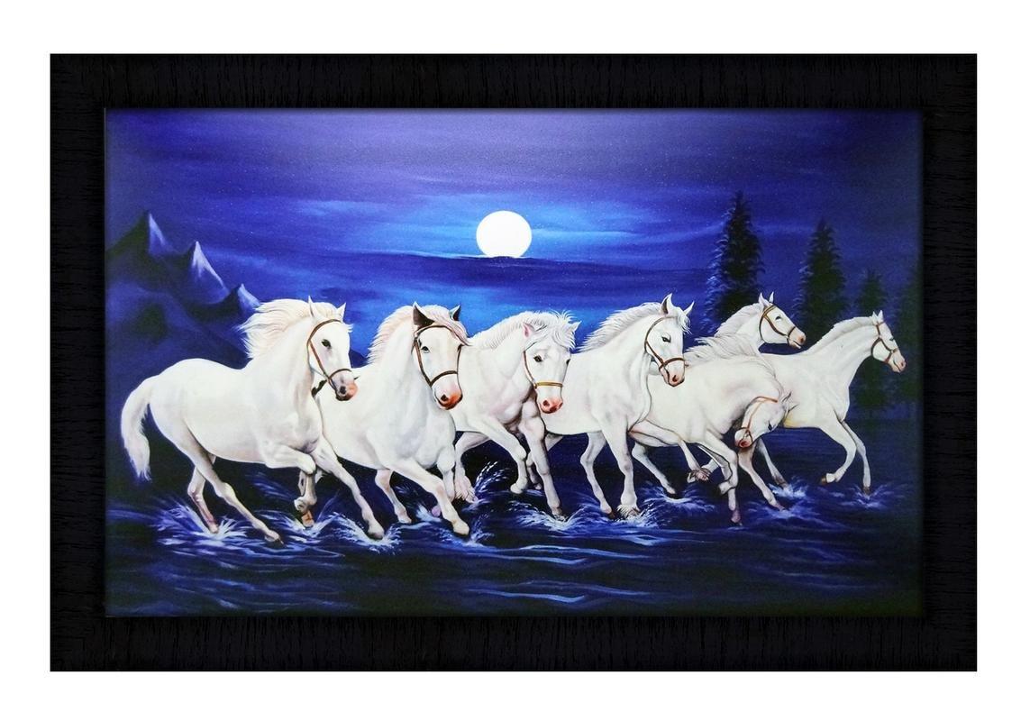 Jsonline Uv Digital Matte Lucky 7 Running Horses Paintings Multicolour 50x1x35 Cm Amazon In Home Kitchen