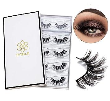 1f9b98ee6e7 Amazon.com : DYSILK 5 Pairs 3D Mink Fake Eyelashes Fluffy False Eyelashes  Natural Look Eyelashes Handmade Extension Thick Long Reusable Soft Lashes  Makeup ...