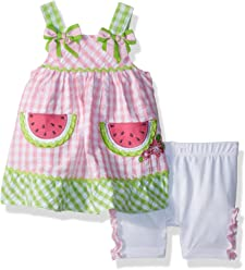 0d7e488e7 Nannette Baby Girls 2 Piece Seer Sucker Top and Bike Short Outfit Set